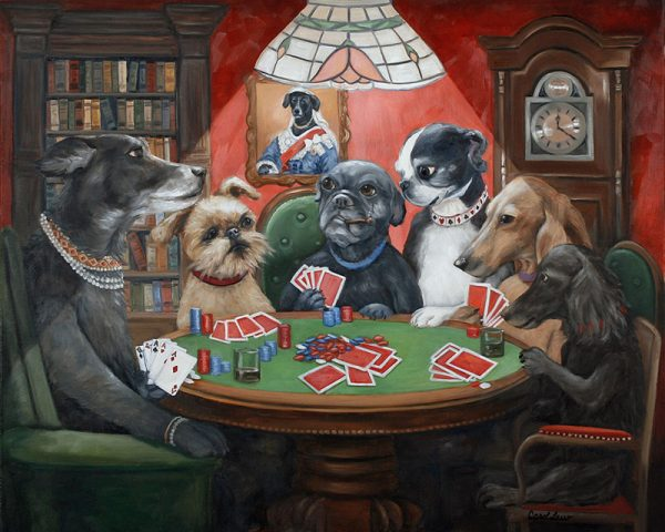 dogs playing cards art